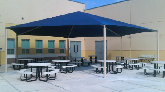a hexagon shade structure